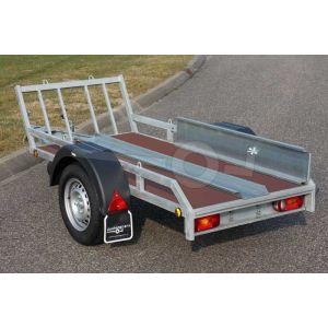 Verhuur motortrailer voor 1 motor, vloerafmeting 225x100 netto laadvermogen 500kg, (B rijbewijs), weekend