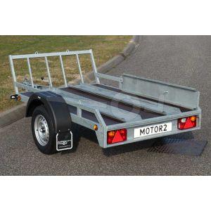 Verhuur motortrailer voor 1 of 2 motoren, vloerafmeting 225x132 netto laadvermogen 500kg, (B rijbewijs), 1 week