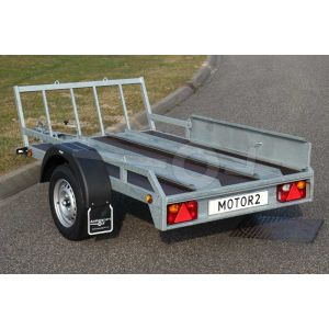 Verhuur motortrailer voor 1 of 2 motoren, vloerafmeting 225x132 netto laadvermogen 500kg, (B rijbewijs), extra dag