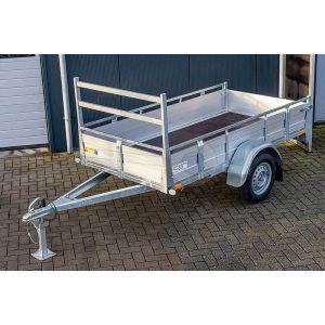 Open bakwagen enkelas met aluminium borden 200x132cm 750kg ongeremd