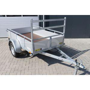 Enkelas open bakwagen met aluminium borden 257x157cm 750kg ongeremd