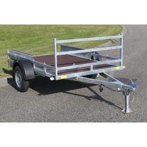 """Transporter voor kleine voertuigen 307x157 (lxb bak), 750kg bruto (520 netto) laadvloerhoogte 54cm, vlakke vloer met railing, banden 13"""", enkelas"""