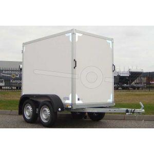 Twins Trailers gesloten aanhangwagen, afmeting 200x132x150 cm, met twee achterdeuren, ongeremde tandemasser, bruto laadvermogen 750kg.