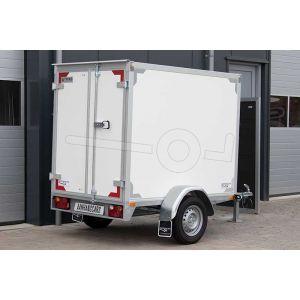 Twins Trailers enkelas gesloten aanhangwagen, afmeting 257x132x150 cm, met twee achterdeuren, bruto laadvermogen 1350kg.