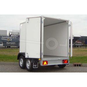 Gesloten aanhangwagen tandemas, afmeting 257x132x150 cm, merk Twins Trailers, met twee achterdeuren, bruto laadvermogen 2000kg.