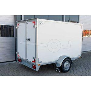 Gesloten aanhangwagen enkelas Twins Trailers, afmeting 257x157x180 cm, bruto laadvermogen 1350kg, witte plywood wanden met 2 achterdeuren.