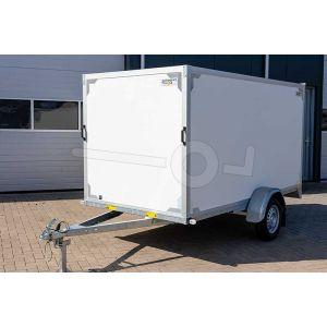 Twins Trailers gesloten aanhangwagen met twee achterdeuren, merk Twins Trailers, ongeremde enkelasser, afmeting 307x157x150 cm, bruto laadvermogen 750kg.