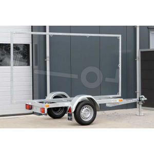 Reclameaanhangwagen Twins Trailers  voor doekmaat tot 290x140, enkelas ongeremd. 750kg (netto 640kg)
