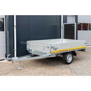 Eduard ongeremde enkelasser plateauwagen 2314-1-PB30-075-63, afmeting 230x145cm met 30cm borden, bruto laadvermogen 750kg, laadvloerhoogte 63cm, bandenmaat 195/50R13