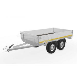 Eduard plateauwagen 2514-4-PB30-075-72, Lxb 250x145cm, Bruto 750kg geremd (356kg netto), Lvh 72cm, Alu borden 30cm, Tandemas geremd, Banden 155R13.