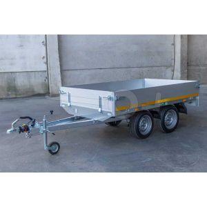 Eduard ongeremde tandemasser plateauwagen 2514-2-PB30-075-63 met een laadbak van 250x145 voorzien van 30cm hoge aluminium borden, een bruto laadvermogen van 750kg en een laadvloerhoogte van 63cm.