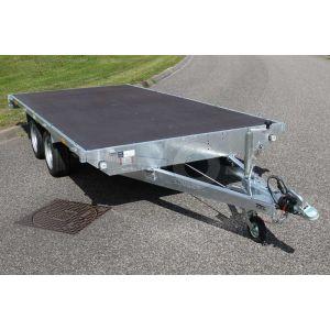 Eduard vlakke plateauwagen zonder borden afmeting 260x150cm, tandemas ongeremd, bruto laadvermogen 750kg, laadvloerhoogte 63cm