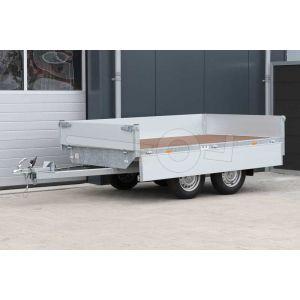 Eduard tandemas plateauwagen afmeting 260x150cm met 40cm borden, bruto laadvermogen 750kg ongeremd, laadvloerhoogte 72cm