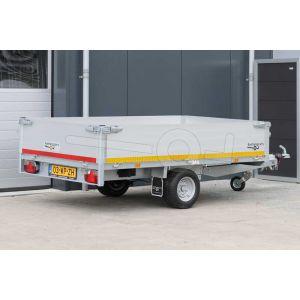 Enkelas plateauwagen Eduard afmeting 260x150cm met 40cm borden, bruto laadvermogen 1500kg, laadvloerhoogte 56cm