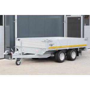 Tandemas plateauwagen Eduard afmeting 260x150cm met 30cm aluminium borden, bruto laadvermogen 2000kg, laadvloerhoogte 56cm