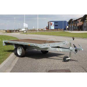 Vlakke enkelas plateauwagen zonder borden, Eduard Trailers, afmeting 310x160cm, bruto laadvermogen 750kg ongeremd, laadvloerhoogte 63cm