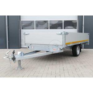 Eduard enkelas plateauwagen met 40cm borden, afmeting 310x160cm, bruto laadvermogen 750kg ongeremd, laadvloerhoogte 63cm
