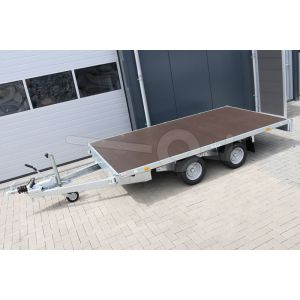 Vlakke plateauwagen Eduard zonder borden, afmeting 310x160cm, bruto laadvermogen 2000kg en laadvloerhoogte 56cm