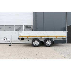 Eduard tandemas plateauwagen 310x160cm met 40cm borden, bruto laadvermogen 2500kg en laadvloerhoogte 72cm