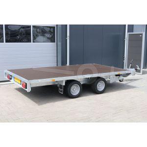 Eduard vlakke plateauwagen zonder borden, afmeting 310x160cm, bruto laadvermogen 2700kg en laadvloerhoogte 56cm