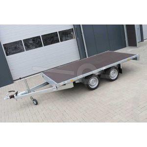 Vlakke plateauwagen Eduard zonder borden, afmeting 310x160cm, bruto laadvermogen 2700kg en laadvloerhoogte 63cm