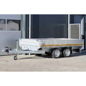 Eduard plateauwagen afmeting 310x160cm met aluminium borden, bruto laadvermogen 2700kg en laadvloerhoogte 63cm.