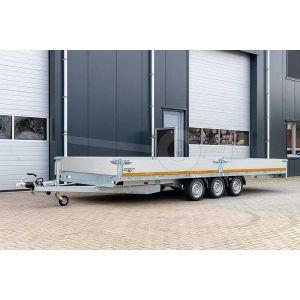 Tridem Eduard plateauwagen 4520-5-PB30-350-56, afmeting 456x200cm met 30cm borden, laadvermogen bruto 3500kg, geremde drieasser, laadvloerhoogte 56cm met 195/55R10 banden