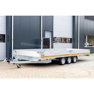 Eduard plateauwagen tridem 4520-5-PB30-350-63, afmeting 456x200cm met 30cm borden, laadvermogen bruto 3500kg, laadvloerhoogte 63cm, geremde drieasser, 195/50R13 banden