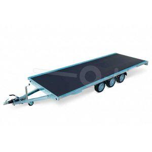 Eduard tridem plateauwagen 4520-5-PV-350-63, afmeting laadvloer 456x200cm zonder borden, 3500kg bruto laadvermogen, laadvloerhoogte 63cm, drieasser geremd met 195/50R13 banden