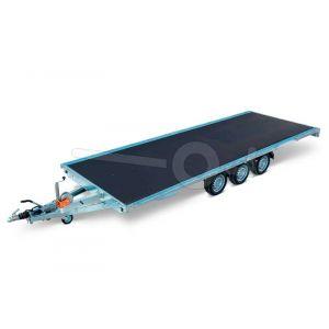 Eduard multitransporter 4522-5-PMV-350-63, Lxb 456x220cm, Bruto 3500kg (2679kg netto), Lvh 63cm, Vlak zonder borden, Drieasser geremd, Banden 195/50R13, Met oprijplaten en lier.