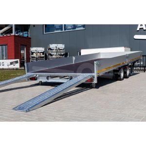 Achterzijde Eduard kantelbare multitransporter met oprijplaten 506x200cm bruto totaalgewicht 3000kg laadvloerhoogte 56cm 5020-4-AOB30-300-J-56
