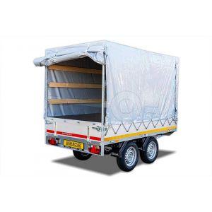 Standaard huifdoek voor Eduard plateauwagen 230x145cm, 130cm hoog vanaf de laadvloer (zonder frame) Kleur: 0712 grijs.