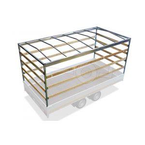 Huifstellage 310x180x180cm voor Eduard plateauwagen, multitransporter of kipper met een laadbak van 310x180cm. Hoogte 180cm, gemeten vanaf de laadvloer. Onderdeelnummer  3118-S-STD-180.