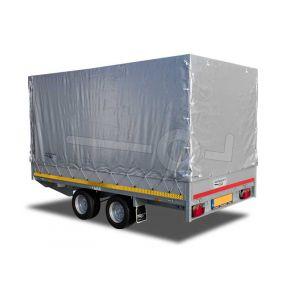 Standaard huifdoek 310x180x200cm voor Eduard plateauwagen, multitransporter of kipper met een laadbak van 310x180cm. Hoogte 200cm gemeten vanaf de laadvloer. Kleur van het huifdoek is 7500 grijs. Onderdeelnummer 3118-Z-STD-20-7500.