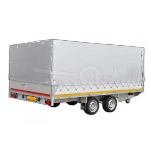 Standaard huifdoek 406x200x130cm 4020-Z-STD-13-7500 ten behoeve van standaard huif voor Eduard plateauwagen of multitransporter met een laadbak van 406x200cm. Hoogte 130cm gemeten vanaf de laadvloer. Kleur van het huifdoek is 7500 grijs.