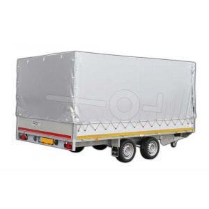 Standaard huifdoek 406x220x180cm 4022-Z-STD-18-7500 ten behoeve van standaard huif voor Eduard plateauwagen of multitransporter met een laadbak van 406x220cm. Hoogte 180cm gemeten vanaf de laadvloer. Kleur van het huifdoek is 7500 grijs.