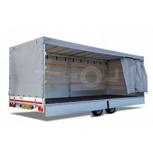 Huifdoek 456x200x180cm 4520-Z-SFZ-18-7500 ten behoeve van huif met schuifzeil voor Eduard plateauwagen of multitransporter met een laadbak van 456x220cm. Hoogte 180cm gemeten vanaf de laadvloer. Kleur van het huifdoek is 7500 grijs.