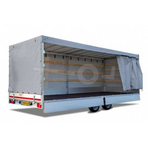 Huifdoek 456x200x200cm 4520-Z-SFZ-20-7500 ten behoeve van huif met schuifzeil voor Eduard plateauwagen of multitransporter met een laadbak van 456x220cm. Hoogte 200cm gemeten vanaf de laadvloer. Kleur van het huifdoek is 7500 grijs.