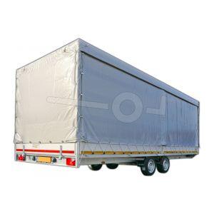 Huifdoek 606x200x180cm 6020-Z-SFZ-18-7500 ten behoeve van huif met schuifzeil voor Eduard plateauwagen of multitransporter met een laadbak van 606x200cm. Hoogte 180cm gemeten vanaf de laadvloer. Kleur van het huifdoek is 7500 grijs.
