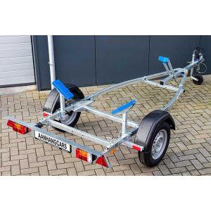 """Sportboottrailer basic 350x160 (lxb), bruto 450kg (350 netto), met glijplanken pakket (ook voor schroefas), banden 13"""", enkelas"""