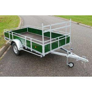 Verhuur open wagen Powertrailer bakmaat 225x132 (lxb), Netto laadvermogen 500kg (B rijbewijs) 24 uur