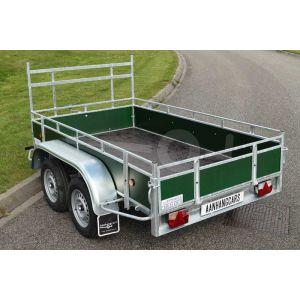Power Trailer tandemasser aanhangwagen, afmeting 257x150cm, groene betonplex borden, bruto laadvermogen 750kg ongeremd
