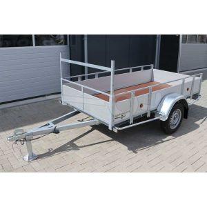 Powertrailer enkelas open bakwagen aluminium 257x132cm 750kg ongeremd