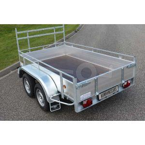 Aluminium open bakwagen Powertrailer 257x132cm 750kg tandemasser ongeremd