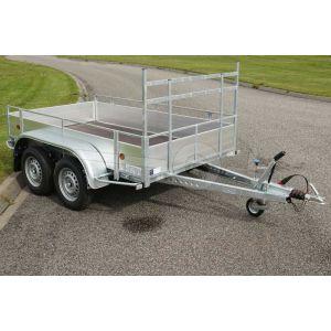 Powertrailer tandemas open aanhangwagen met aluminium borden 257x150cm 1500kg