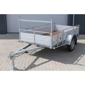 Powertrailer enkelas open bakwagen met aluminium borden 307x132cm 750kg ongeremd