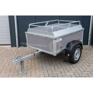 Power Trailer bagagewagen 150x110x50cm, bruto laadvermogen 750kg (570 netto), grijze betonplex panelen, enkelas ongeremd