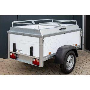 Power Trailer bagagewagen 175x110x60cm, bruto laadvermogen 750kg, witte kunststof panelen, enkelas ongeremd