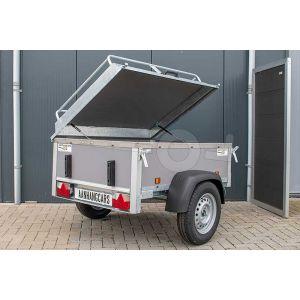 Power Trailer bagagewagen 175x110x60cm, bruto laadvermogen 750kg, grijze betonplex panelen, enkelas ongeremd