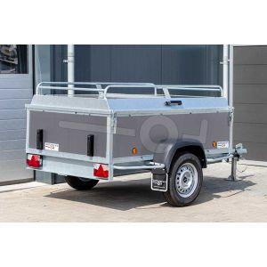 Power Trailer bagagewagen 200x110x60cm, bruto laadvermogen 750kg, grijze betonplex panelen, enkelas ongeremd